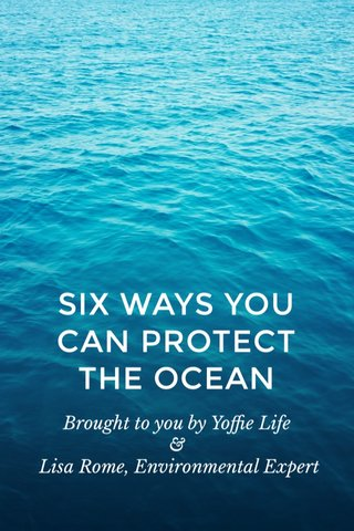 SIX WAYS YOU CAN PROTECT THE OCEAN Brought to you by Yoffie Life & Lisa Rome, Environmental Expert