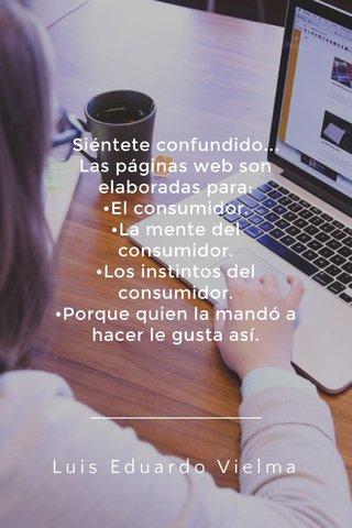 Luis Eduardo Vielma Siéntete confundido... Las páginas web son elaboradas para: •El consumidor. •La mente del consumidor. •Los instintos del consumidor. •Porque quien la mandó a hacer le gusta así.