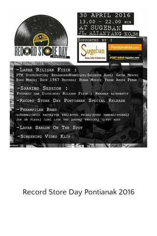 Record Store Day Pontianak 2016
