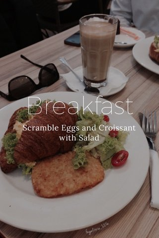 Breakfast Scramble Eggs and Croissant with Salad