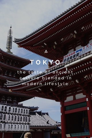 TOKYO the taste of ancient culture blended in modern lifestyle