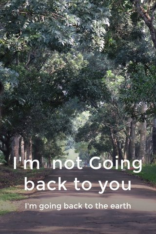 I'm not Going back to you I'm going back to the earth