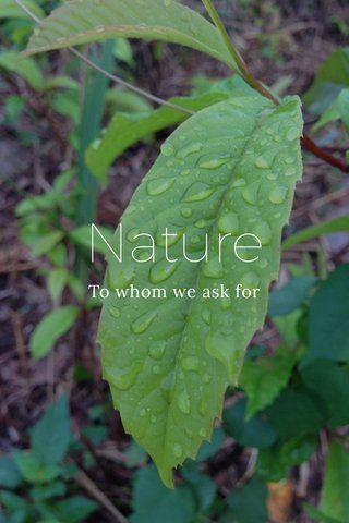 Nature To whom we ask for