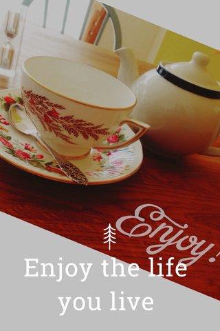 Enjoy the life you live