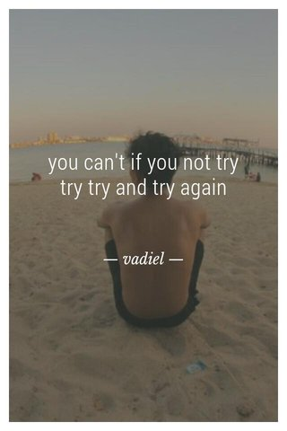 you can't if you not try try try and try again — vadiel —