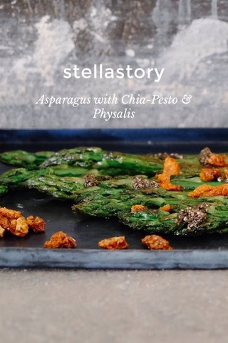 stellastory Asparagus with Chia-Pesto & Physalis