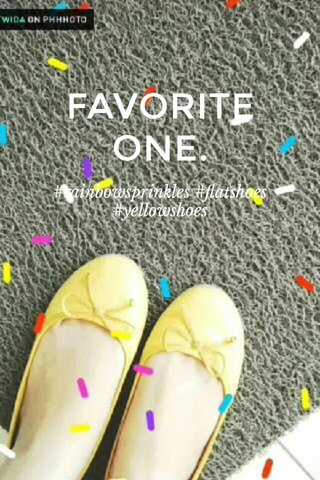 FAVORITE ONE. #rainbowsprinkles #flatshoes #yellowshoes