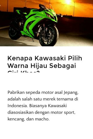 Kenapa Kawasaki Pilih Warna Hijau Sebagai Ciri Khas?