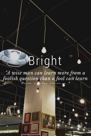 """Bright """"A wise man can learn more from a foolish question than a fool can learn from a wise answer. """""""