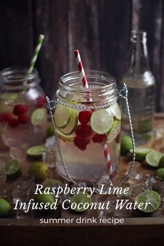 Raspberry Lime Infused Coconut Water summer drink recipe