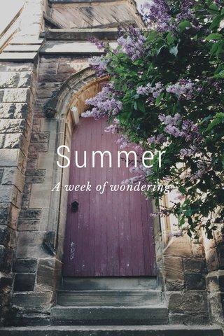 Summer A week of wondering