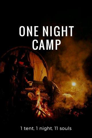 ONE NIGHT CAMP 1 tent, 1 night, 11 souls
