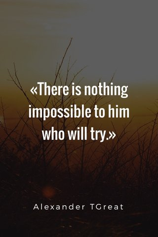 «There is nothing impossible to him who will try.» Alexander TGreat