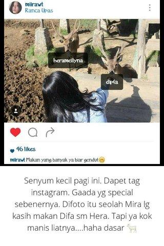 Senyum kecil pagi ini. Dapet tag instagram. Gaada yg special sebenernya. Difoto itu seolah Mira lg kasih makan Difa sm Hera. Tapi ya kok manis liatnya....haha dasar 🐐