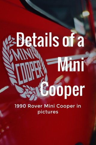 Details of a Mini Cooper 1990 Rover Mini Cooper in pictures