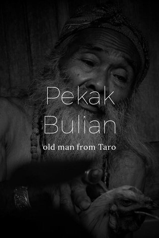 Pekak Bulian old man from Taro