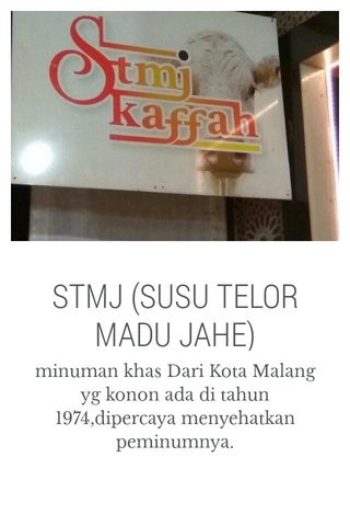 STMJ (SUSU TELOR MADU JAHE)