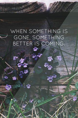 WHEN SOMETHING IS GONE, SOMETHING BETTER IS COMING.