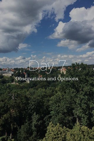 Day 7 Observations and Opinions