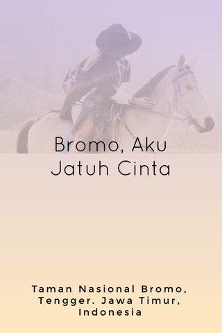 Bromo, Aku Jatuh Cinta Taman Nasional Bromo, Tengger. Jawa Timur, Indonesia