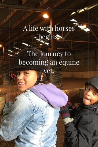A life with horses begins. The journey to becoming an equine vet.