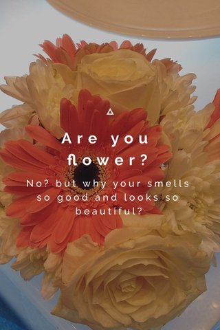 Are you flower? No? but why your smells so good and looks so beautiful?
