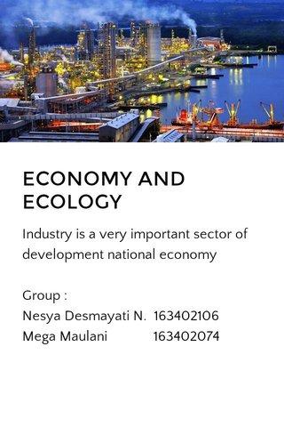 ECONOMY AND ECOLOGY