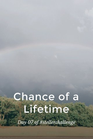 Chance of a Lifetime Day 07 of #stellerchallenge