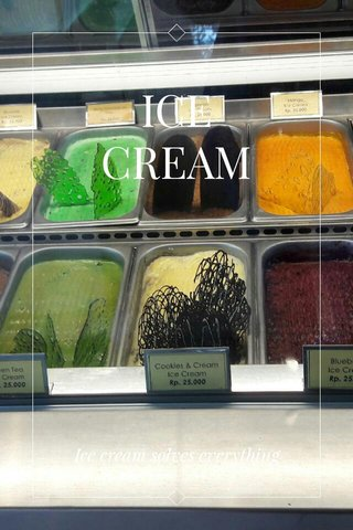 ICE CREAM Ice cream solves everything