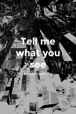 Tell me what you see About looking