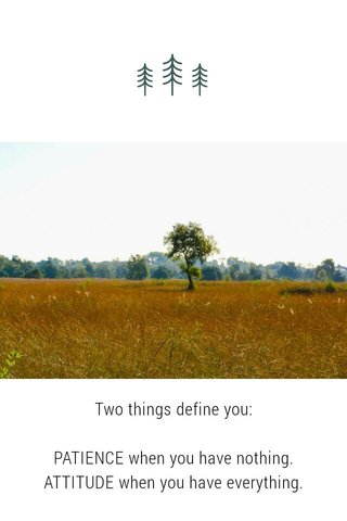 Two things define you: PATIENCE when you have nothing. ATTITUDE when you have everything.