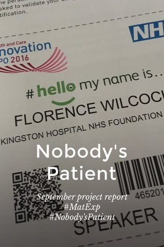 Nobody's Patient September project report #MatExp #Nobody'sPatient