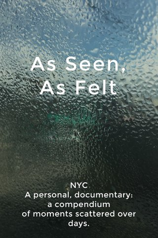 As Seen, As Felt NYC A personal, documentary: a compendium of moments scattered over days.