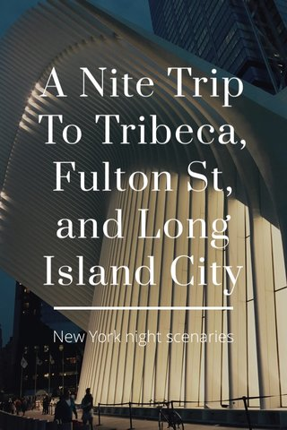 A Nite Trip To Tribeca, Fulton St, and Long Island City New York night scenaries