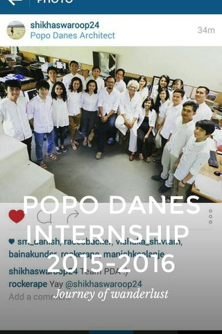 POPO DANES INTERNSHIP 2015-2016 Journey of wanderlust