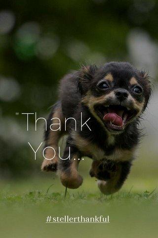 Thank You... #stellerthankful