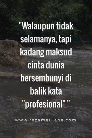 """""""Walaupun tidak selamanya, tapi kadang maksud cinta dunia bersembunyi di balik kata """"profesional"""" """" www.rezamaulana.com"""