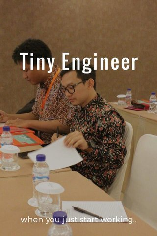 Tiny Engineer when you just start working..