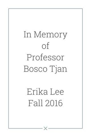 In Memory of Professor Bosco Tjan Erika Lee Fall 2016