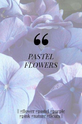 PASTEL FLOWERS    #flower #pastel #purple #pink #nature #fleurs   