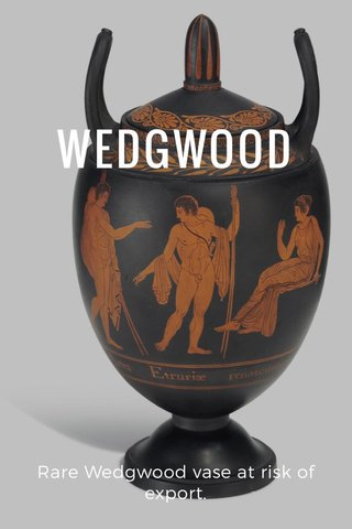 WEDGWOOD Rare Wedgwood vase at risk of export.