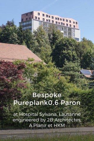 Bespoke Pureplank0.6 Paron at Hospital Sylvana, Lausanne engineered by 2B Architectes, A.Planir et HKM