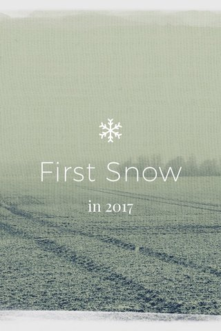 First Snow in 2017
