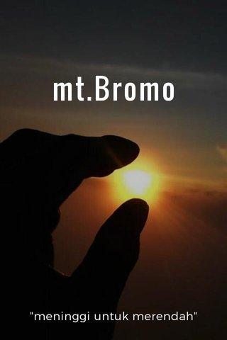 """mt.Bromo """"meninggi untuk merendah"""""""