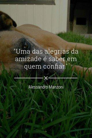 """""""Uma das alegrias da amizade é saber em quem confiar."""" Alessandro Manzoni"""