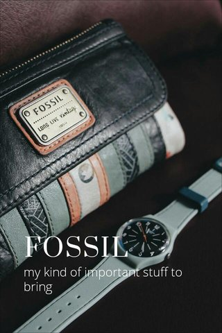 FOSSIL my kind of important stuff to bring