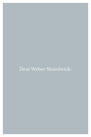 Dear Weber Shandwick: