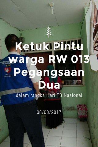 Ketuk Pintu warga RW 013 Pegangsaan Dua dalam rangka Hari TB Nasional 08/03/2017