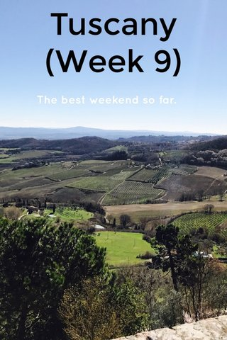 Tuscany (Week 9) The best weekend so far.